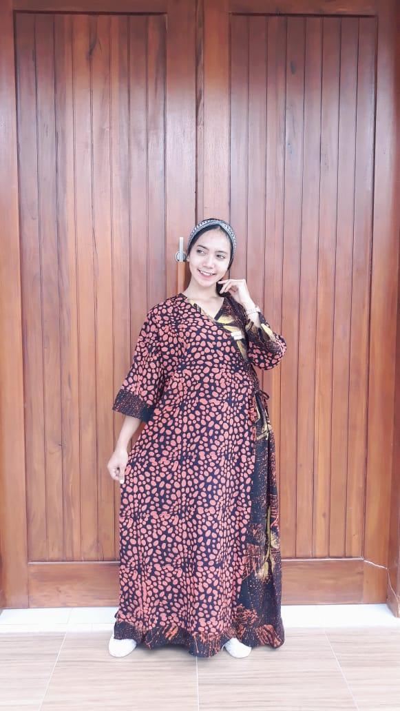 Long Dress Batik Kimono Jumbo Lengan 7/8