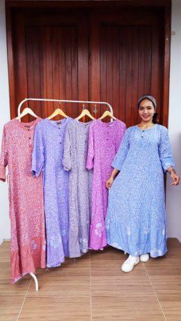 Long Dress Batik Laila Lengan 3/4
