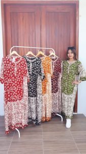Long Dress Batik Lengan 3/4 Santung Cap