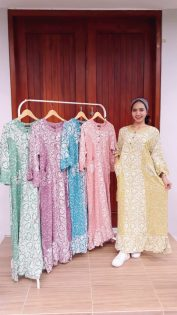 Long Dress Batik Nagita Lengan 3/4