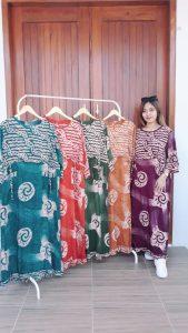Long Dress Batik Santung Lengan 3/4