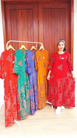 Long Dress Batik Stella Lengan 3/4