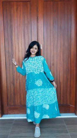 Long Dress Batik Susun Warna Pastel