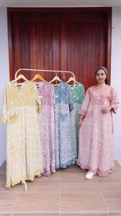 Long Dress Batik Wenda Lengan 7/8