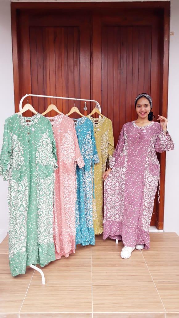 Long Dress Nagita Batik Lengan 3/4