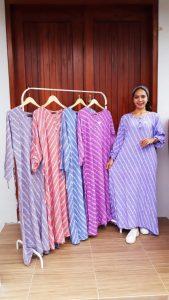 Longdress Batik Garis Amira Lengan Panjang