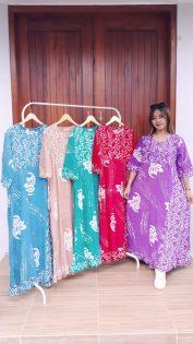 Longdress Batik Warna Warni Lengan 3/4