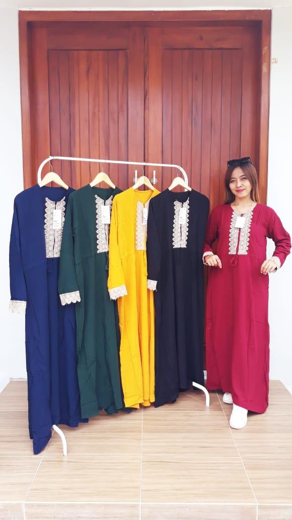 Model Baju Longdress Renda Lengan Panjang