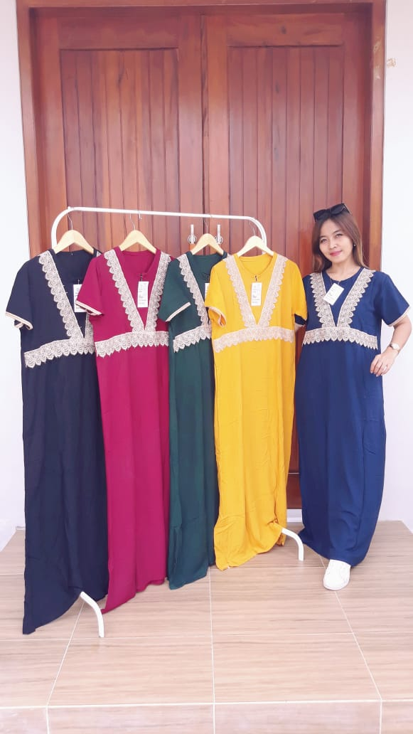 Model Baju Longdress Renda Lengan Pendek