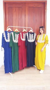 Model Baju Longdress Renda Lengan Serut