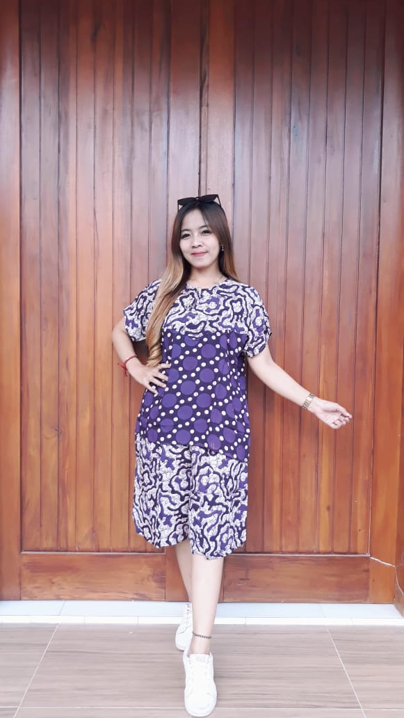 Baju Batik Setelan Celana Kulot Pendek