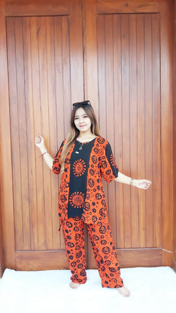 Baju Batik Setelan Celana Panjang Lengan 3/4