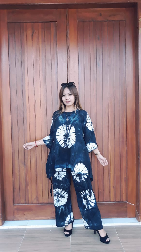 Baju Batik Setelan Celana Panjang Tie Dye