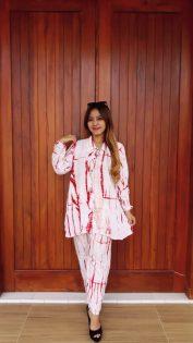 Baju Batik Setelan Jumputan Lengan Panjang