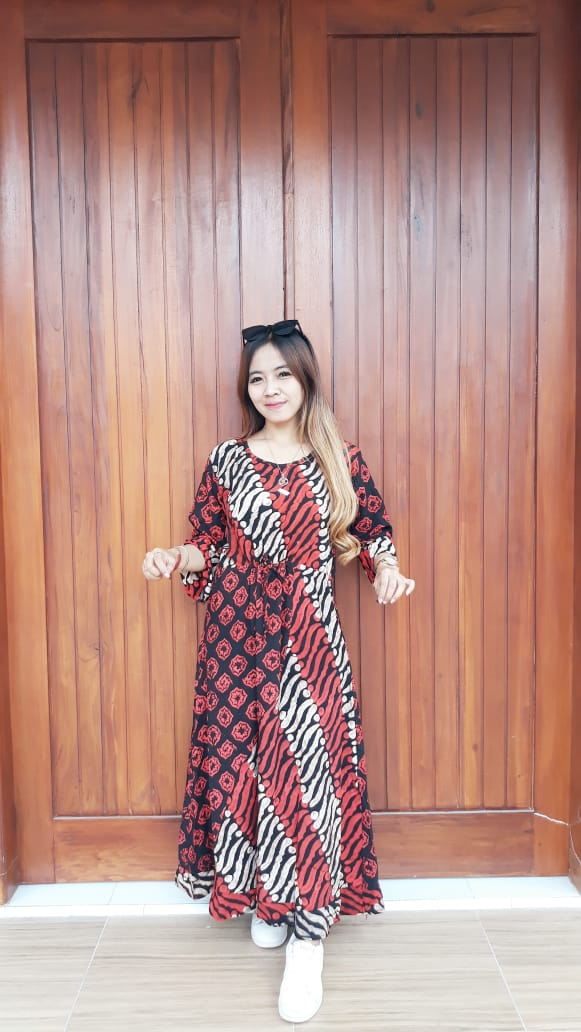 Baju Long Dress Batik Maura Lengan 3/4