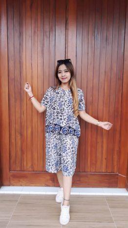 Baju Setelan Batik Kulot Celana Pendek