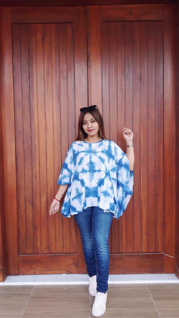Blus Kelelawar Batik Jumputan Biru