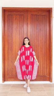 Daster Batik Merah Cendana Lengan Pendek