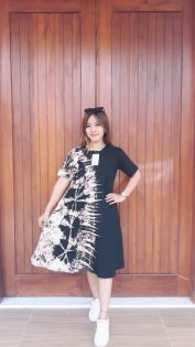Daster Kaos Batik Shibory Hitam Pendek