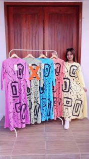 Gamis Kaos Batik Lengan Panjang