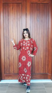Long Dress Batik Ica Lengan 7/8