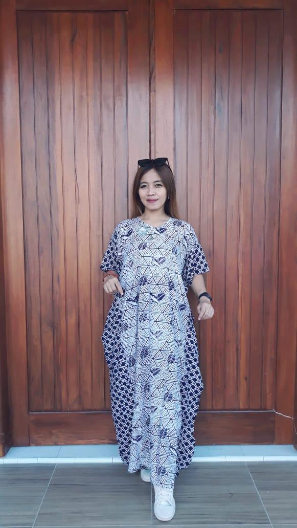 Long Dress Batik Kelelawar Cendana Biru