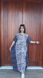 Long Dress Batik Kelelawar Cendana Biru