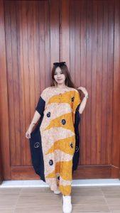 Long Dress Batik Kelelawar Lengan Pendek