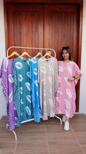 Long Dress Batik Kelelawar Warna Pastel