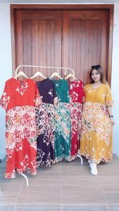 Long Dress Batik Pendek Selvie Warna