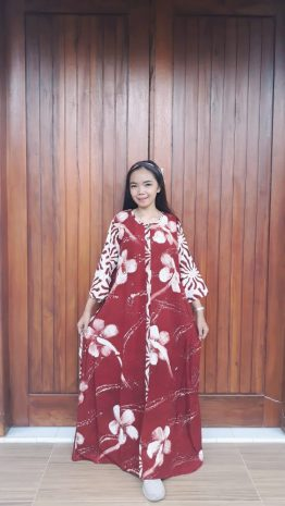 Long Dress Batik Savana Lengan 7/8