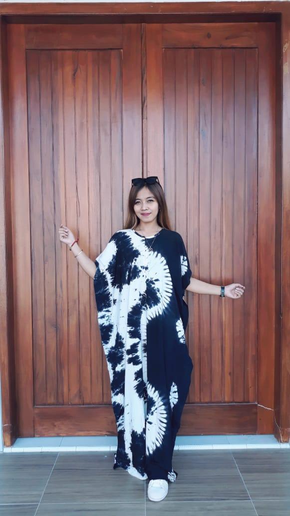 Long Dress Batik Shibori Lowo Navy