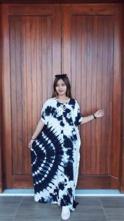 Long Dress Batik Shibori Lowo Navy