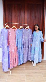 Long Dress Batik Susun Lengan Panjang
