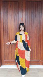 Long Dress Batik Talia Lengan Panjang