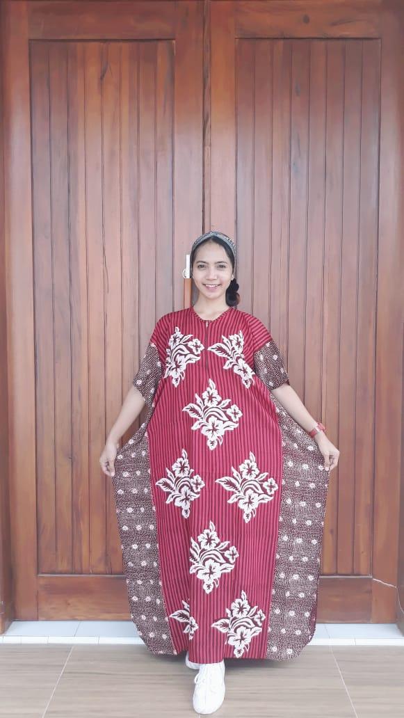 Long Dress Kelelawar Cendana Lengan Pendek