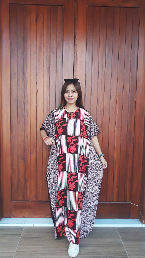 Longdress Lowo Batik Cendana Lengan Pendek