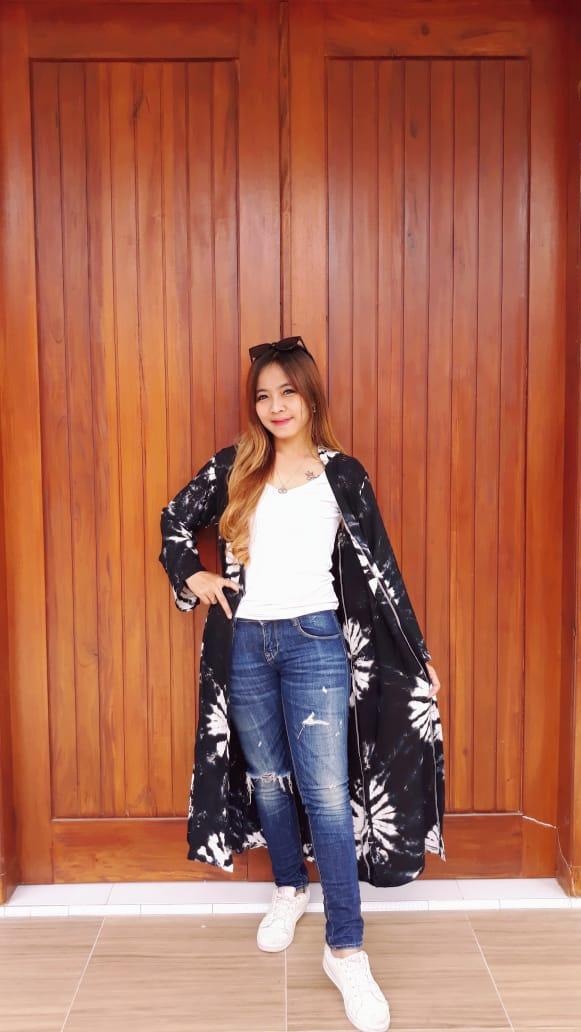 Outer Panjang Batik Jumputan Bahan Santung