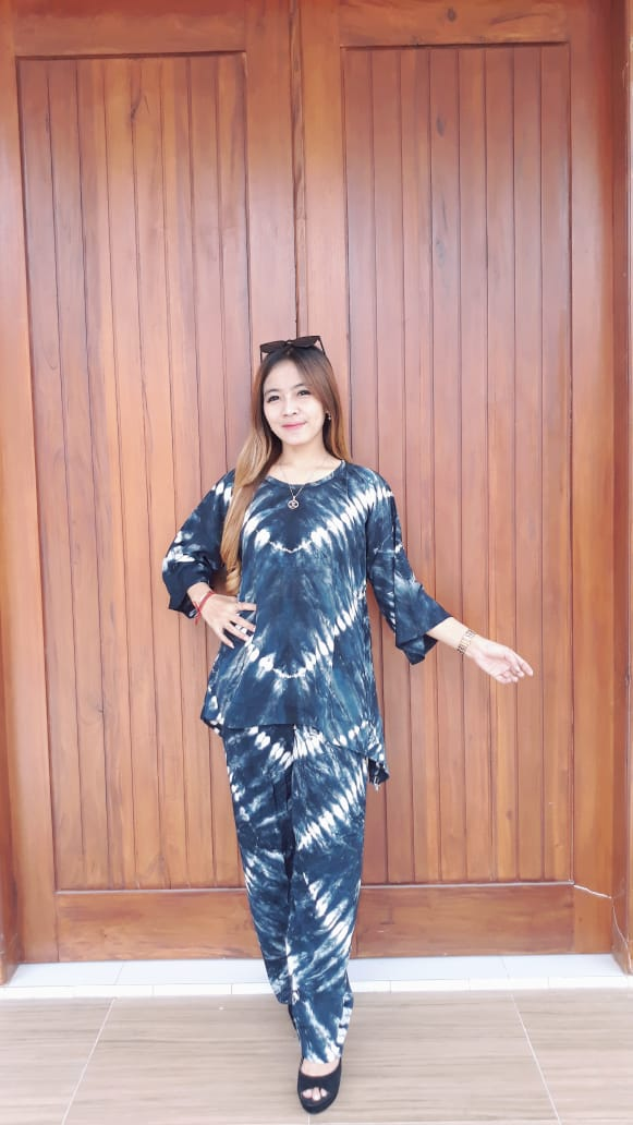 Setelan Batik Jumputan Celana Panjang Santung