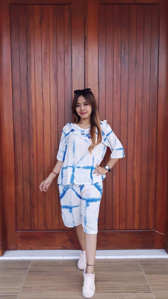 Setelan Batik Shibori Celana Pendek Lengan 3/4