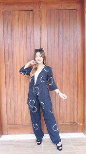 Setelan Outer Batik Jumputan Bahan Santung