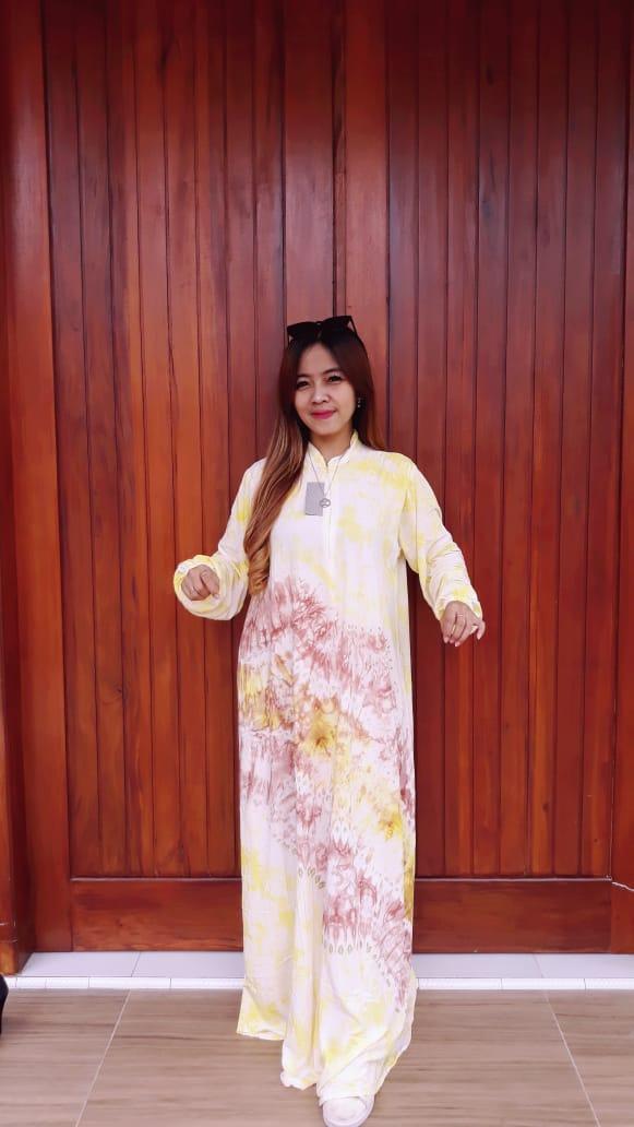 Baju Long Dress Batik Jumputan Panjang