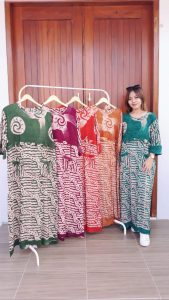 Baju Longdress Panjang Batik Lengan 3/4