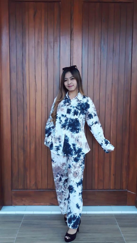 Baju One Set Batik Tie Dye Panjang