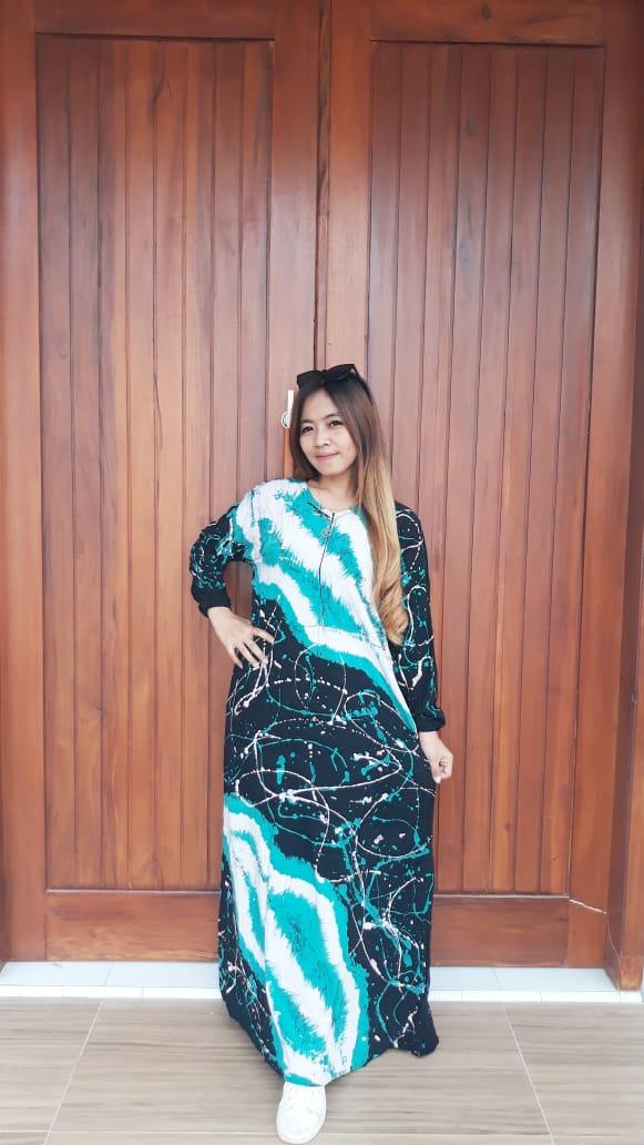 Gamis Batik Cap Abstrak Semi Payung