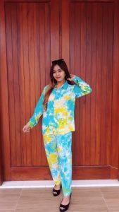 Setelan Batik Panjang Tie Dye Warna