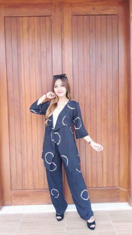 Setelan Outer Batik Tie Dye Hitam