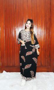 Long Dress Daster Batik Lengan 7/8 Coklat Hitam