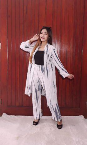 One Set Batik Tunik Outer Jumputan Putih