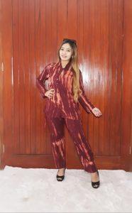 Baju One Set Tie Dye Garis Shibori Warna